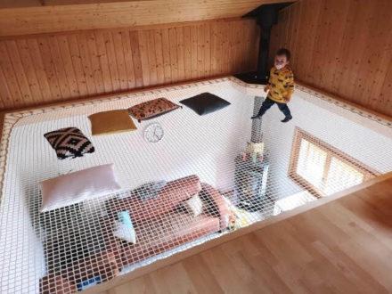 Filet de sécurité mezzanine enfant chalet