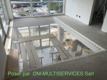 Filet protection mezzanine maison architecte