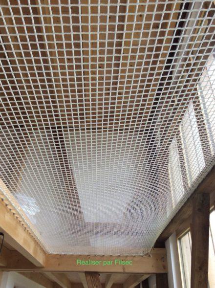 Pose d'un filet pour mezzanine